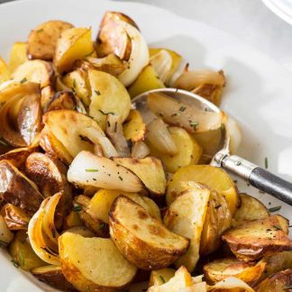 Roast potatos and onion - available for home delivery